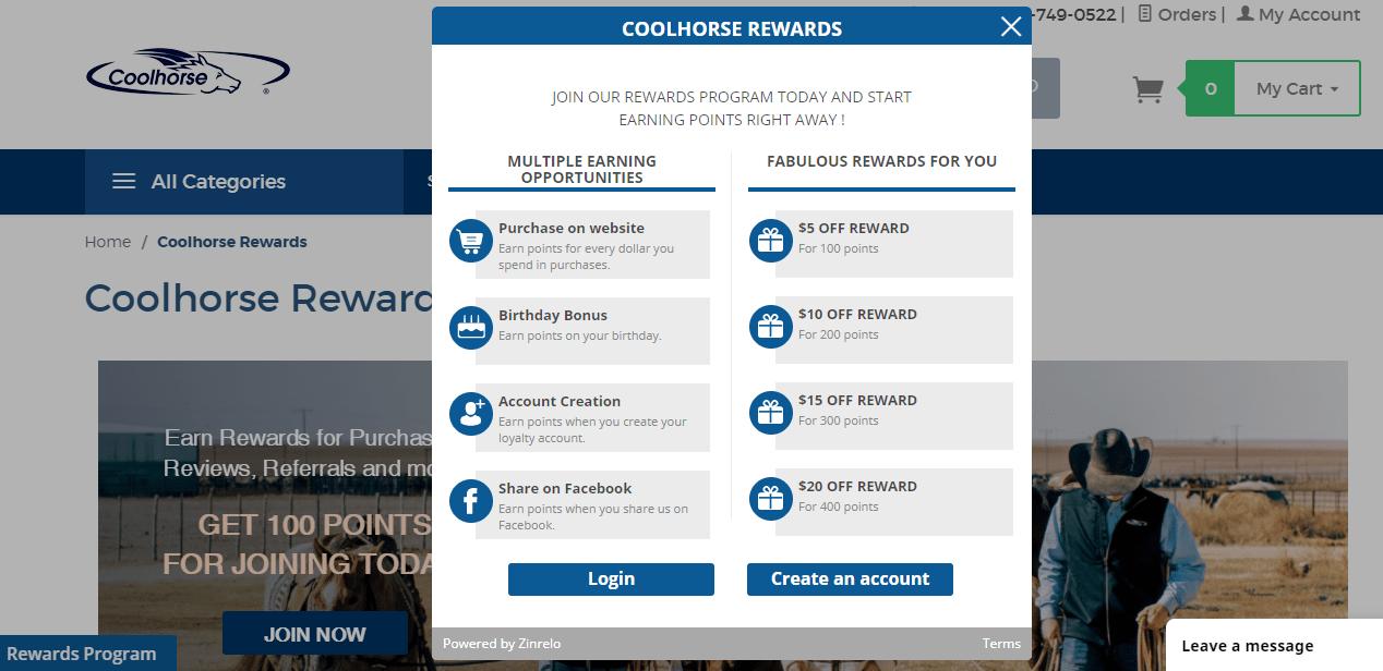 Coolhorse loyalty program by Zinrelo